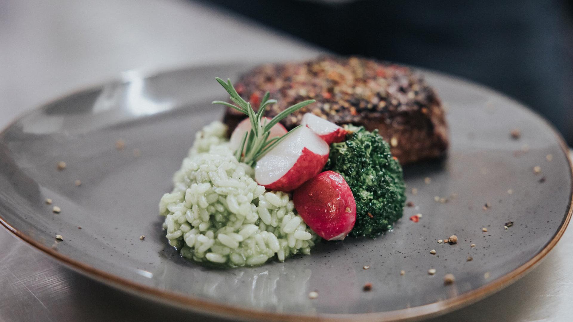 Steak mit Risotto